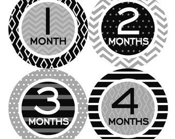 Baby Monthly Stickers, PLUS Just Born, Baby Month Milestone Stickers Neutral Boy Baby Girl Bodysuit Stickers Chevron Black Grey 156N