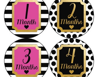 1st Year Baby Month Stickers, PLUS Just Born, Baby Girl Milestone Stickers, Monthly Bodysuit Stickers, Dots Gold White Hot Pink Black 157G