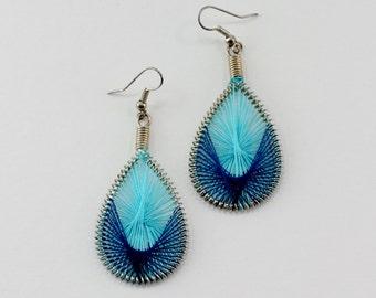 Vintage Silver Tone Royal Turquoise Blue Woven Wrapped Twist Thread Yarn Coil Spring Teardrop Silvertone Hoop Pierced Dangle Earrings