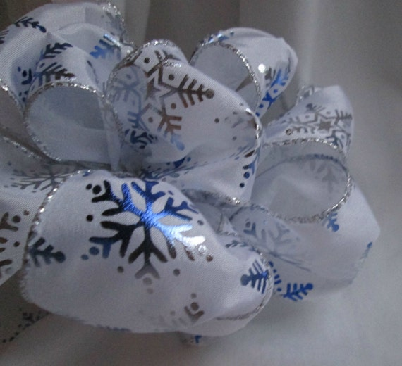 "Blue and Silver Snowflake Wire Ribbon... 2.5"" X  12 Feet"