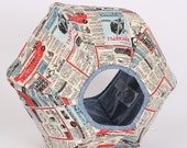The Cat Ball Bed Pet Furniture in Vintage Comic Book Fabric
