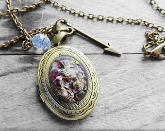 Get 15% OFF - Amethyst Opal Oval Glass Cabochon Antique Bronze Oval Photo Locket Necklace - Valentine's Day SALE 2016
