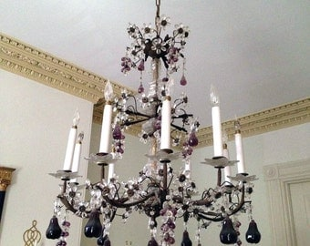 Antique French Chandelier with Crystal Flowers and Grapes