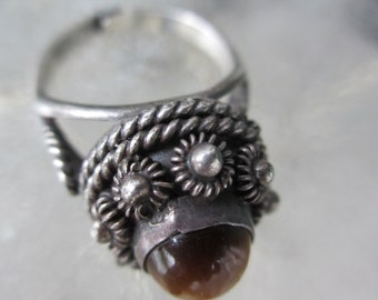 60s Vintage Mexican Sterling Poison Ring Tiger Eye 7
