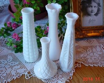 Vintage Milk Glass Vases - Shabby Chic Barn Wedding Decor