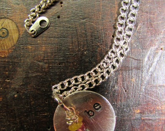 Yoga Inspired Just Be Hand Stamped Sterling Charm Necklace with Tourmaline