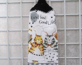 Cat Chefs Button-On Hanging Towel