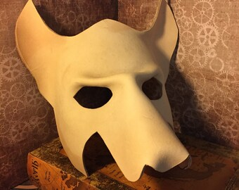 DIY Leather Wolf Mask Base  MADE to ORDER - Unpainted Raw Leather already shaped - stain paint decorate and customize it yourself