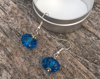 Blue earrings,blue lampwork earrings,blue Venetian glass bead and silver ear wire earrings,handcraftred earrings,Murano glass bead earrings