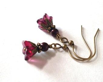Petite Wine flower earrings, antiqued brass, Czech glass flower, oxblood pearl, dark red dangle earrings, flower jewelry, everyday jewelry