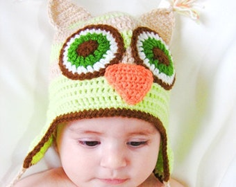 Discount 20%- Crochet baby hat, crocheted baby owl hat, hat with earflaps, crocheted winter hat, READY TO SHIP
