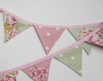 Mini Bunting Pink and Sage Green ,Fabric Bunting, Shabby Chic Bunting, Floral and Dotty Pennant Flag Banner,Flag Garland, Various Lengths