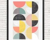 Abstract wall art, geometric print, mid century modern poster, colorful geometric art, scandinavian print, nordic design, nursery print