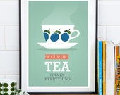 Kitchen print, Tea poster, Art for kitchen, mint kitchen, retro print, A cup of tea solves everything, Tea quote print, Minimalist print,