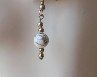 White Howlite with Silver Earrings