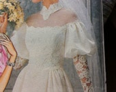 Vintage 80s Wedding Pattern Sewing Wedding Dress Butterick No. 3136 Size 16 Bridal Gown Princess Seams Train Vintage Bridal Bridesmaid Gown