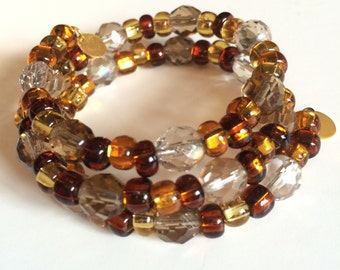 Golden Sunrise Memory Wire Bracelet