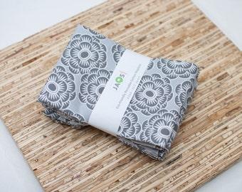 Large Cloth Napkins - Set of 4 - (N2268) - Gray Flower Modern Reusable Fabric Napkins