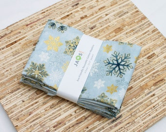 Large Cloth Napkins - Set of 4 - (N2022) - Blue Snowflakes Modern Reusable Fabric Napkins