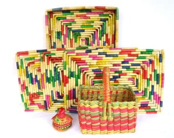 Vintage NEON BASKET Instant COLLECTION/ Mexican Place Mats/ Baskets/ Neon Home Accents