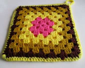 Vintage Crocheted Granny Square Pot Holder - 9 inches