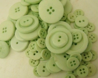 Mint Green Buttons, 100 Bulk Assorted Round Multi Size Crafting Sewing Buttons