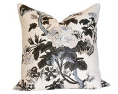 Pyne Hollyhock Charcoal Pillow Cover (Double-Sided) - Made-to-Order