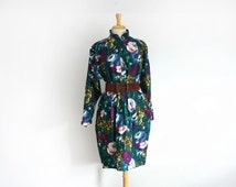 1980s Ungaro Solo Donna floral cocoon silhouette dress in Sz 12 (US) / 46 (EU) large