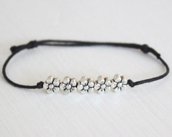Flowers Bracelet or Anklet In Silver, Five Tiny Flowers, Silver Bracelet, Nature Inspired, Floral Bracelet, Gifts for Her