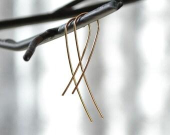 Gold Earrings, Everyday Earrings, Twisted Earrings, Simple Earrings, Metal Work Earrings