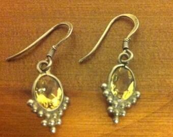 925 Sterling Silver Citrine Dangling Earrings