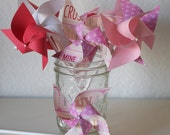 Valentine's Day 12 mini Pinwheels Red and Pink Decor Red and Pink Favors Wedding Favors (Custom orders welcomed)