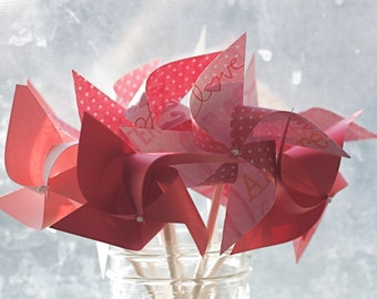 12 mini Pinwheels Red and Pink Decor Red and Pink Favors Wedding Favors Valentine's Day (Custom orders welcomed)