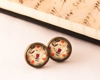 Flower Studs - Flower Earrings - Victorian Earrings - Gift For Her - SPRING Earrings - Floral Studs - Red Earrings - Cottage Chic, Gift