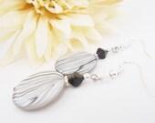 Black and White Shell Earrings, Striped Earrings, Seashell Earrings, Spring Fashion Earrings, Black Earrings, Czech Glass Earrings