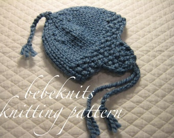 Bebeknits Quick Knit Ear Flap Baby Hat Knitting Pattern in 3 SIzes
