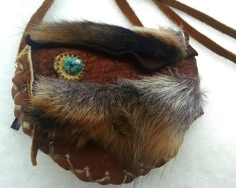 fox.trance : small sacred buckskin herbal pouch necklace w turquoise nugget & natural red fox fur