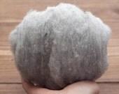 Needle Felting Wool in Silver Mist, Light Gray, Grey, Heather, Wool Batting, Batts, Wet Felting, Spinning, Fiber Art Supplies