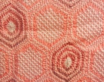 Bright and cheery pink patterned vintage silk haori (a kimono jacket)