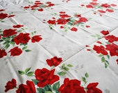 Vintage Red Royal Rose Wilendur Tablecloth
