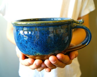 MADE TO ORDER... Soup Mug / Cappuccino Mugs/ Handmade Pottery / Blue and Brown
