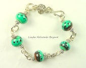Bracelet of Lampwork Glass Beads Turquoise and Brown