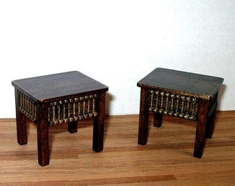 Medieval Stools, Pair (2) of Stools, Jacobean, Dollhouse Miniatures 1/12 Scale, Hand Made in the USA