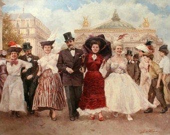 Festive People in Front of Opera in Paris - Cross stitch pattern pdf format