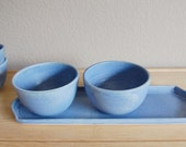 blue serving tray