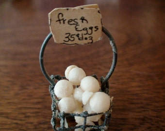 "Primitive Miniature Metal Wire Egg Basket  With Price Label ""Fresh Eggs 35 cents doz"", Great Add to Collection"