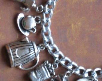 Espresso and Coffee Lovers Tibetan Silver Charm Bracelet
