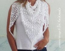 Crochet Pattern Triangle Scarf  Iguazu PDF - shawl summer scarf - Instant DOWNLOAD