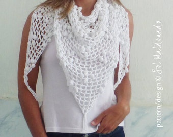 Crochet Triangle Scarf Pattern PDF - Iguazu shawl summer cowl - Instant DOWNLOAD