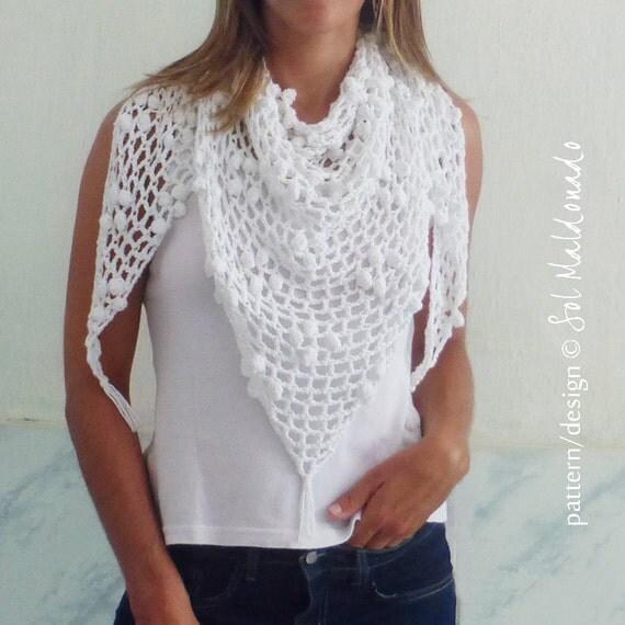 Crochet Pattern Triangle Scarf : Crochet Triangle Scarf Pattern PDF Iguazu shawl summer cowl